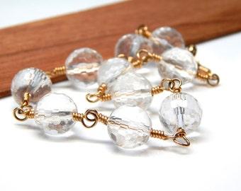 Gold Quartz Bracelet, Crystal Quartz Wire Wrapped Jewelry