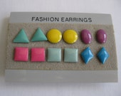 vintage. EARRINGS. multi colored. 6 PAIRS. post. SHAPES. 1980s.