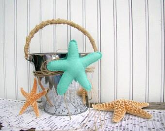 Beach Wedding Flower Girl, Petal Pail Basket, Starfish Beach Wedding, Mint Aqua, Destination Wedding, Ceremony Pew Aisle Decor