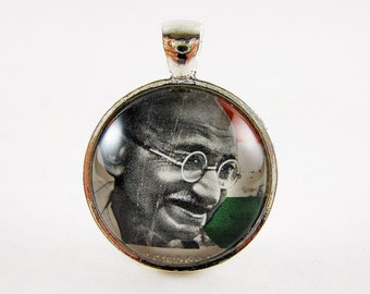 Mahatma Gandhi Pendant, Postage Stamp Jewelry, Be The Change, Inspirational Quotes, Peaceful, Portrait Necklace, Gift Idea, Yoga Necklace