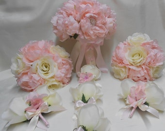 Wedding Silk Flower Bridal Bouquets 18 pcs Package Ivory Rose Pink Blush Peony Champagne Bridesmaids  Boutonnieres Corsages FREE SHIPPING