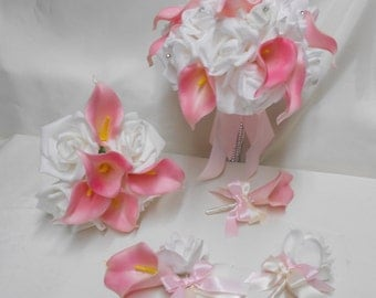 Wedding Silk Flower Bridal Bouquet 18 pieces Package White Roses Pink Blush Calla Lily Bridesmaid Boutonnieres Corsages FREE SHIPPING