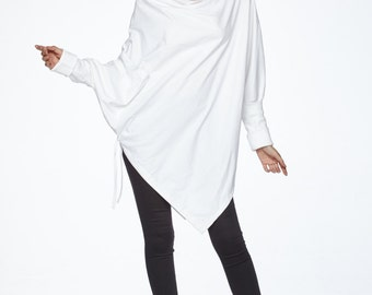 NO.59 Off-White Cotton Jersey  Batwing Tunic, Loose Asymmetrical  Sweater, Women's Top