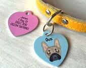 Dog Tag - Personalised HEART Dog ID Tag- Dog Collar - MEDIUM 35mm