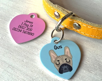 Dog Tag - Personalised HEART Dog ID Tag- Dog Collar - MEDIUM 35mm