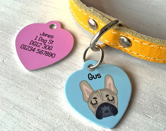 Dog ID Tag Personalised HEART Dog Tag- MEDIUM 35mm