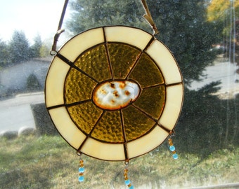 Agate stained glass suncatcher