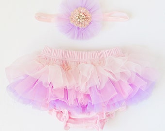 Tutu Bloomers - Pale Pink, Pink & Lavender with crystal flower tulle headband diaper cover ruffle newborn bloomers cake smash set newborn