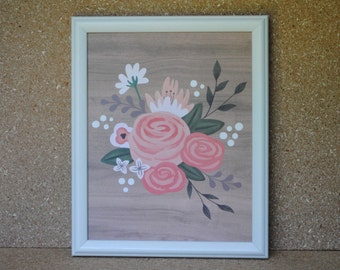 Floral Bouquet Print in White Vintage Wood Frame
