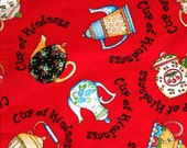 DESTASH Fabric - 2.5 yards of Mary Engelbreit Cup of Kindness Red Fabric with Teapots Cotton Quilting Fabric