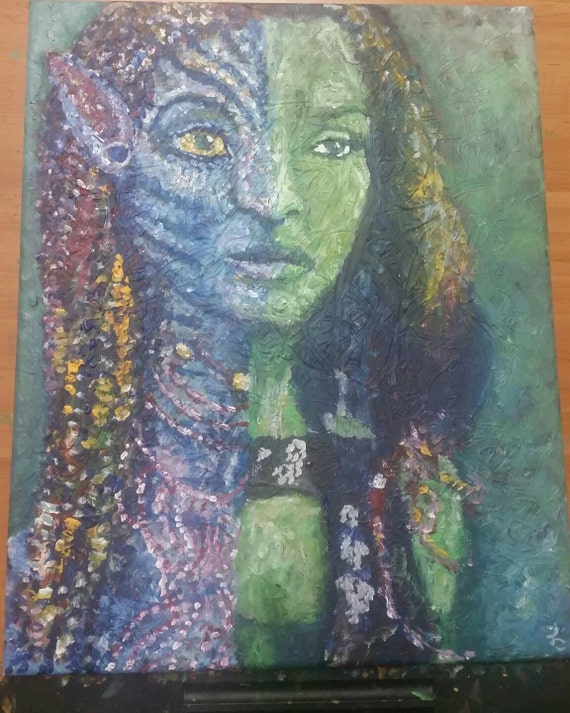 """Zoe Blue and Green, 16 x 20"""" acrylic on canvas"""