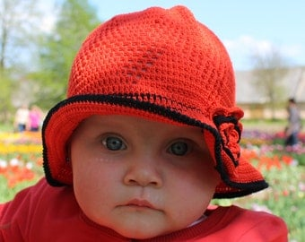 SALE: 50% OFF!!!Red crochet cloche, hat with flower spring summer fashion baby girl  Ready to ship