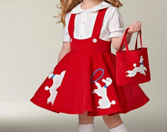 UNCUT Girl's Poodle Skirt, Sock Hop Jumper Costume with Purse Simplicity 0349 or 1075 Halloween Costume, 1950s Costume, Dress Up, Girls