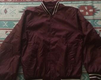 Vintage Maroon Colored Club House Brand Athletic Satin Jacket