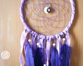 Dream Catcher - Sweet Moon - With Moon Amulet Pendant, Purple Feathers and Textiles - Boho Home Decor