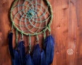 Dream Catcher - Dark Forest No.2. - Boho Dreamcatcher with Transitional Blue-Green Web and Deep Blue Feathers - Mobile, Nursery Decor