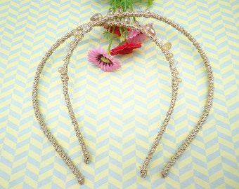 2pcs 5mm wide champagne plain rope with plastic bead headband