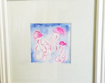 Three Pink Jellies Original Watercolor