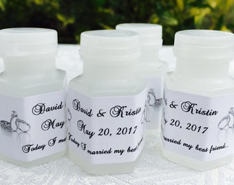 210 SILVER WEDDING RINGS Mini Bubble labels/stickers Personalized for Wedding/Anniversary party or event. Make your own cute favors!