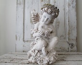 Large angel statue shabby cottage chic concrete cherub figure hand painted large angelic wings handmade crown home decor anita spero design