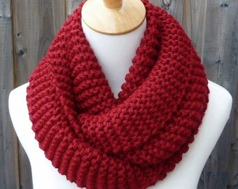 Wine Red Infinity Scarf - Dark Red Infinity Scarf - Chunky Knit Scarf - Circle Scarf - Ready to Ship