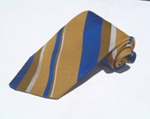 Vintage 1970s Wide Gold Polyester Tie with Blue Stripes from Sears Mens Store