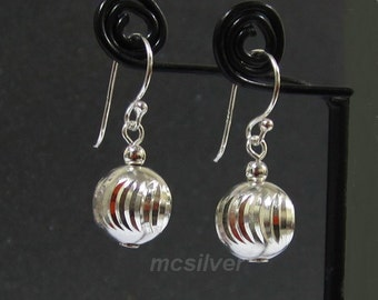 10 mm. Silver Ball Earrings 925 Sterling Silver Ball Dangle Earrings Crescent Twisted Diamond Cut Ball Earrings Round Dangling