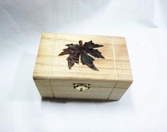 Maple Leaf - Hand woodburned box