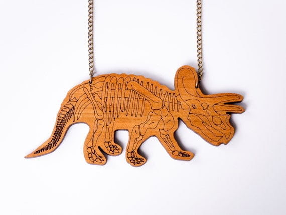 Triceratops Skeleton Dinosaur Necklace. Laser Cut Acrylic/Wood Dinosaur Necklace. Dinosaur Chain. Statement Necklace. Dinosaur Pendant.
