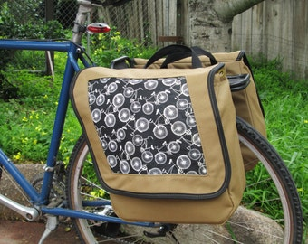 Set of two large bicycle pannier/bike bags with decorative fabric