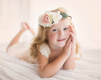 Floral Crown, Photo Prop, beautiful, photo prop, photography prop, cream, pink- TODDLER/CHILD SIZE -Grace
