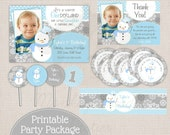 Winter ONEderland Girly Snowman Blue & Grey Printable Birthday Party Package