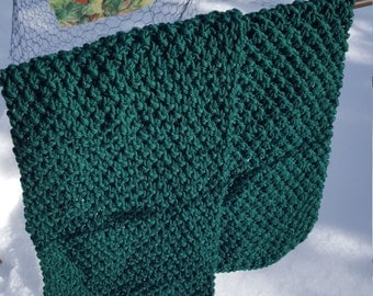 Hand Knit Scarf - Green