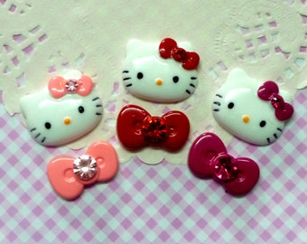 6 pcs Mixed Kitten and Bow Rhinestones Cabochons, Assorted Color Kitty Cat Cabochon,  Flatback
