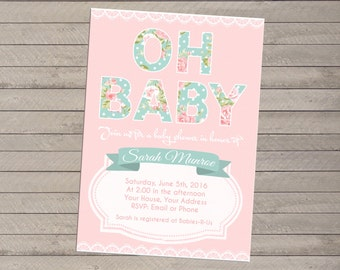Print-yourself Floral Baby Shower Invitation - Boy or Girl, Shabby Chic
