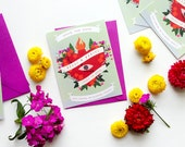 Sacred Heart custom illustrated Mexican Save the Date // fuchsia, yellow and red