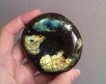 Large Polished Labradorite Palm Stone - Large Crystal - Crystal Gift - Meditation Crystal - Home Decor - Healing  Energy - Healing Crystal