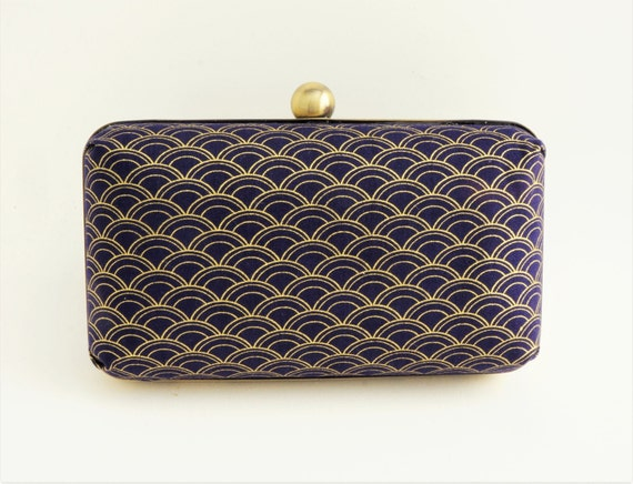 Gorgeous Navy & Gold Deco 1920's Style Minaudiere Box Clutch - Evening/Bridesmaid/Prom Purse - Includes Crossbody Chain - Made to Order