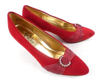 Vintage 70s 80s 925 The PM Collection Red Velvet Rhinestone Holiday Heels Pumps 7.5