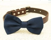 Navy Dog Bow Tie, Navy Bow tie attached to brown collar, navy wedding accessory, Brown dog collar, wedding accessory, Some thing blue
