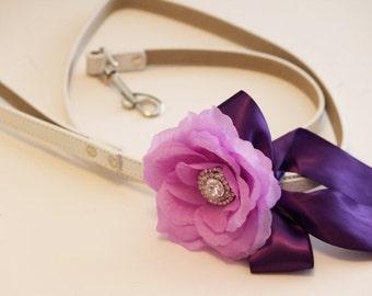Purple Floral Leash, Wedding accessorry, High quality Leather, Purple wedding