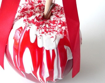 Fake Food Candy Cane  Peppermint Chocolate Covered Candy Apple Christmas Decoration