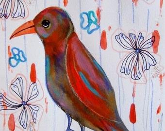 Bird Art Bird Fine Art Bird Home Decor Original Painting Orange Blue - Animal Decor Bird Flowers - Fine Art Bird Gift Idea Cute Bird Art