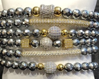 Hemitate silver gold bracelet