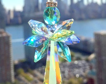 Green Blue Suncatcher Guardian Angel Ornament Decorative Glass Art Crystal Decor Window Decor Favor Gift Swarovski Crystal Ocean Colors