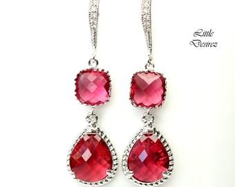 Ruby Earrings Red Pink Earrings Fuchsia Earrings Bridesmaid Gift Bridesmaid Earrings Dangle Earrings Sterling Silver Hypoallergenic RP38H