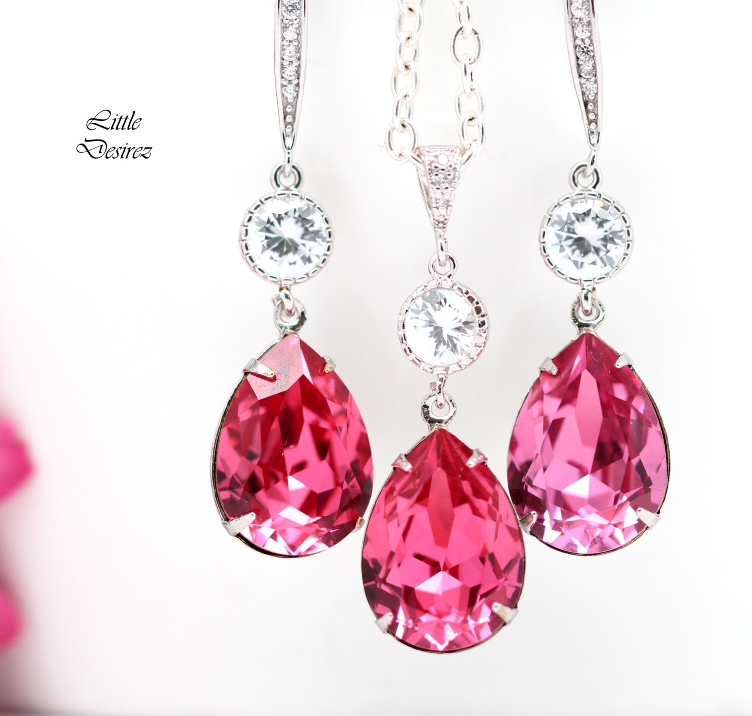 hot pink earrings and necklace set by littledesirezjewelry