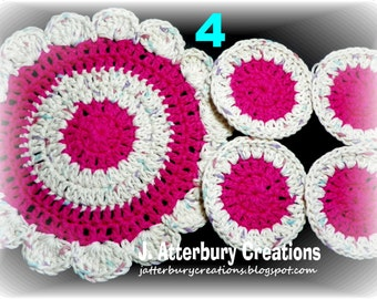 Handmade Crochet Trivet and Coasters Set...Pick 1 Set from the 5 Color Varieties Available...