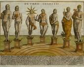 1612 Antique view of THE URBIS COLOSSUS. Ancient Rome. The Antiquae Urbis Splendor. Roman Empire. 404 years old copper engraving