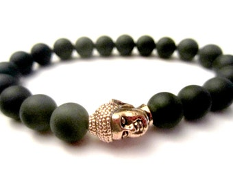 Black Bracelet. Buddha Bracelet. Onyx. Rose Gold Buddha. Buddha Jewelry. Stone Black Bead. Protection Stone. Stretch Bracelet.
